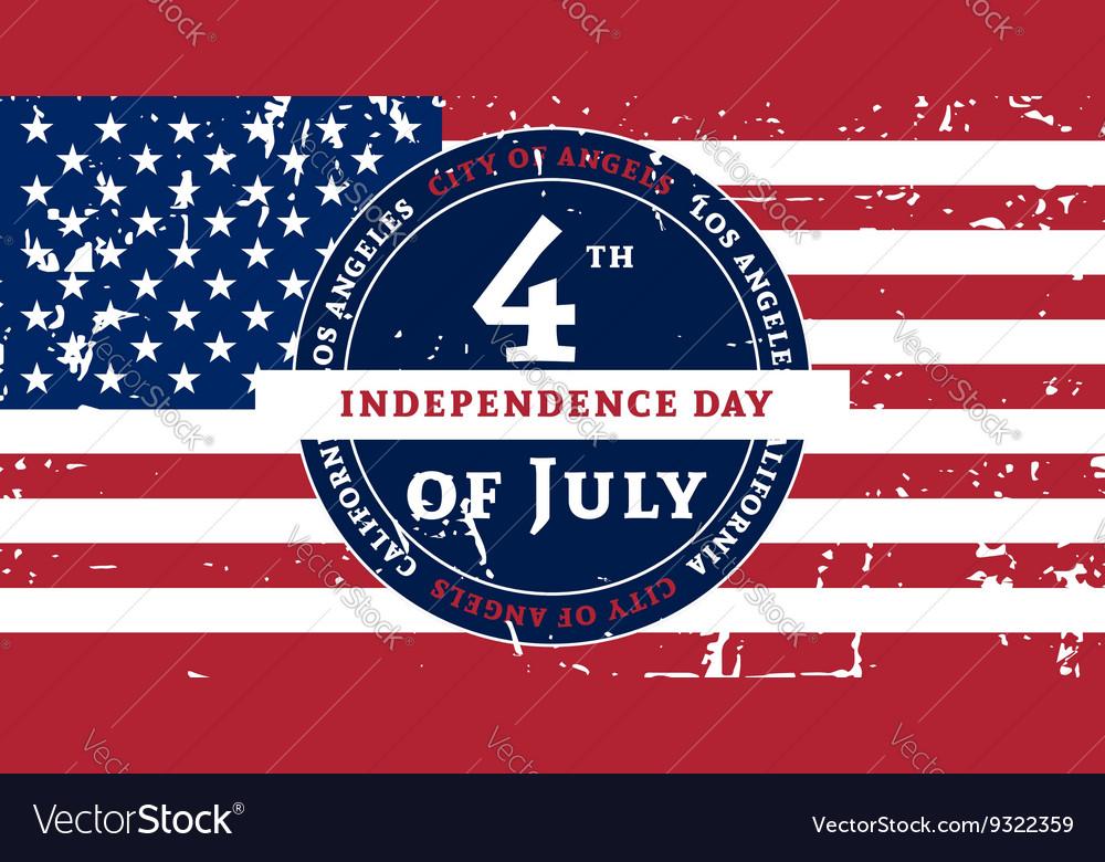Independens day LA color flag grunge vector image
