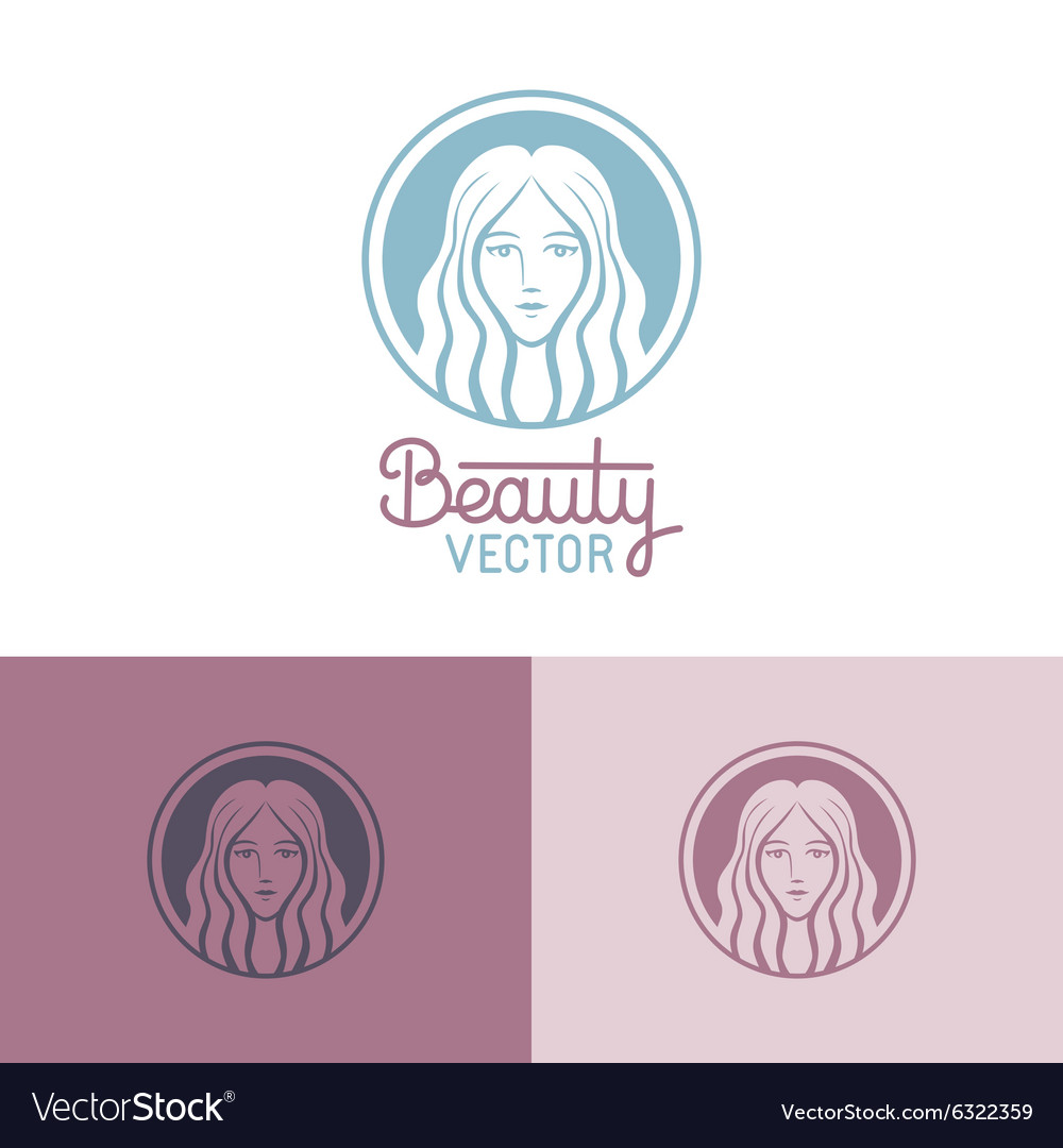 Logo design template in trendy linear style vector image