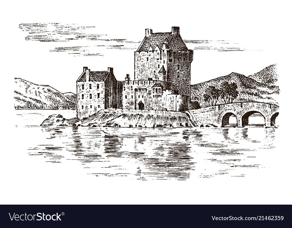 Vintage castle in scotland graphic monochrome