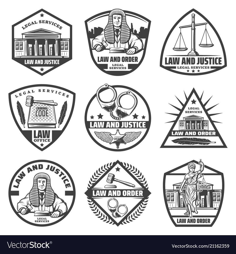 Vintage monochrome judicial system labels set
