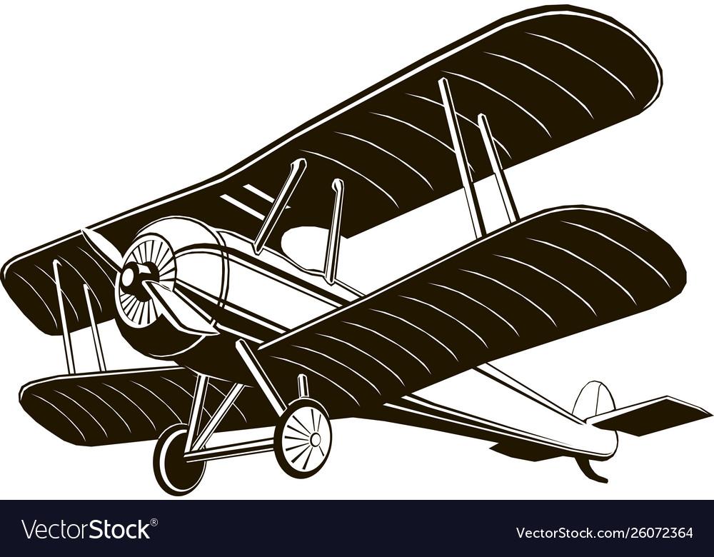 Biplane retro airplane monochrome black graphic