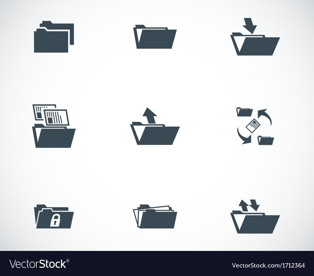 Black folder icons set