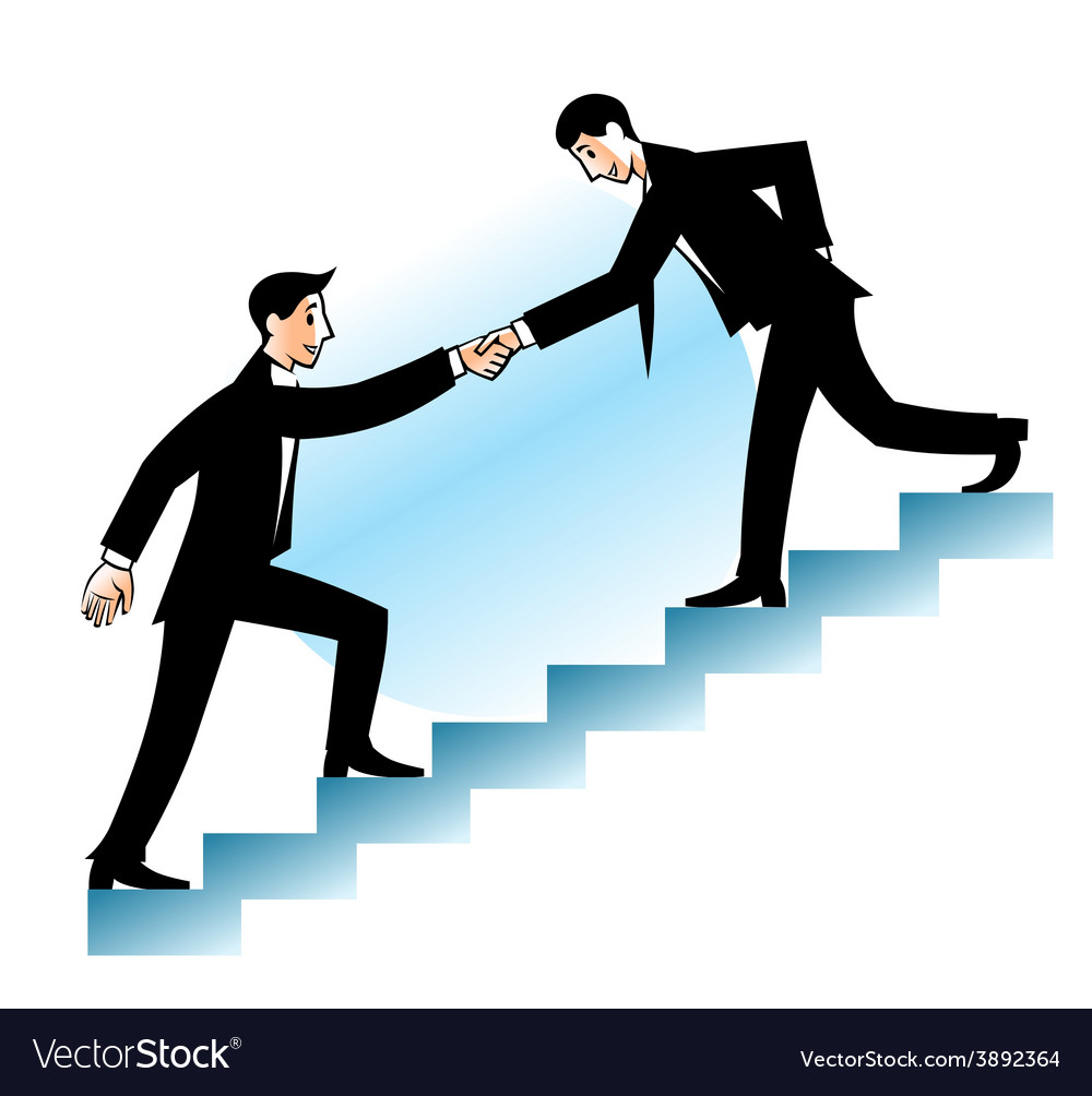 Businessman helping to go up vector image