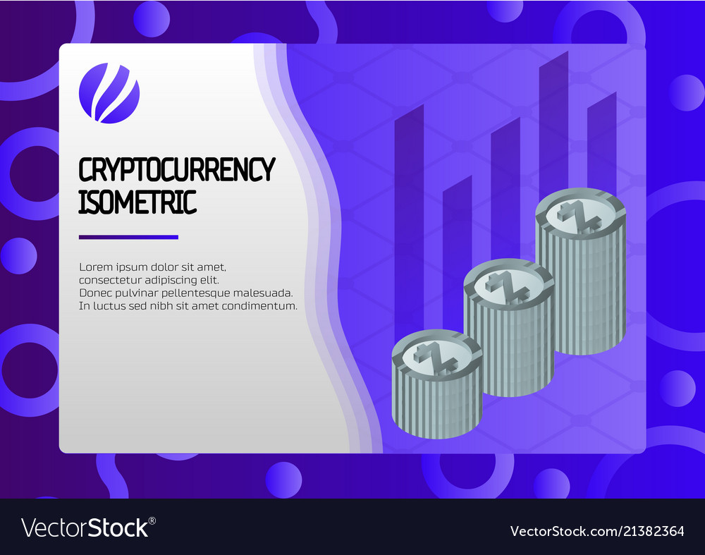 Cryptocurrency color isometric concept