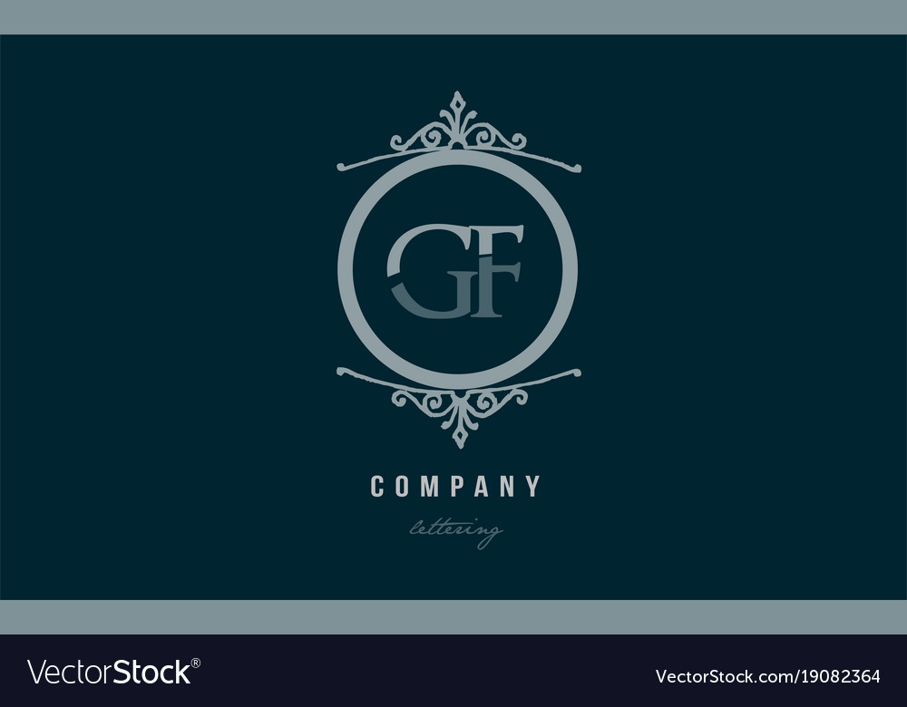 Gf g f blue decorative monogram alphabet letter vector image