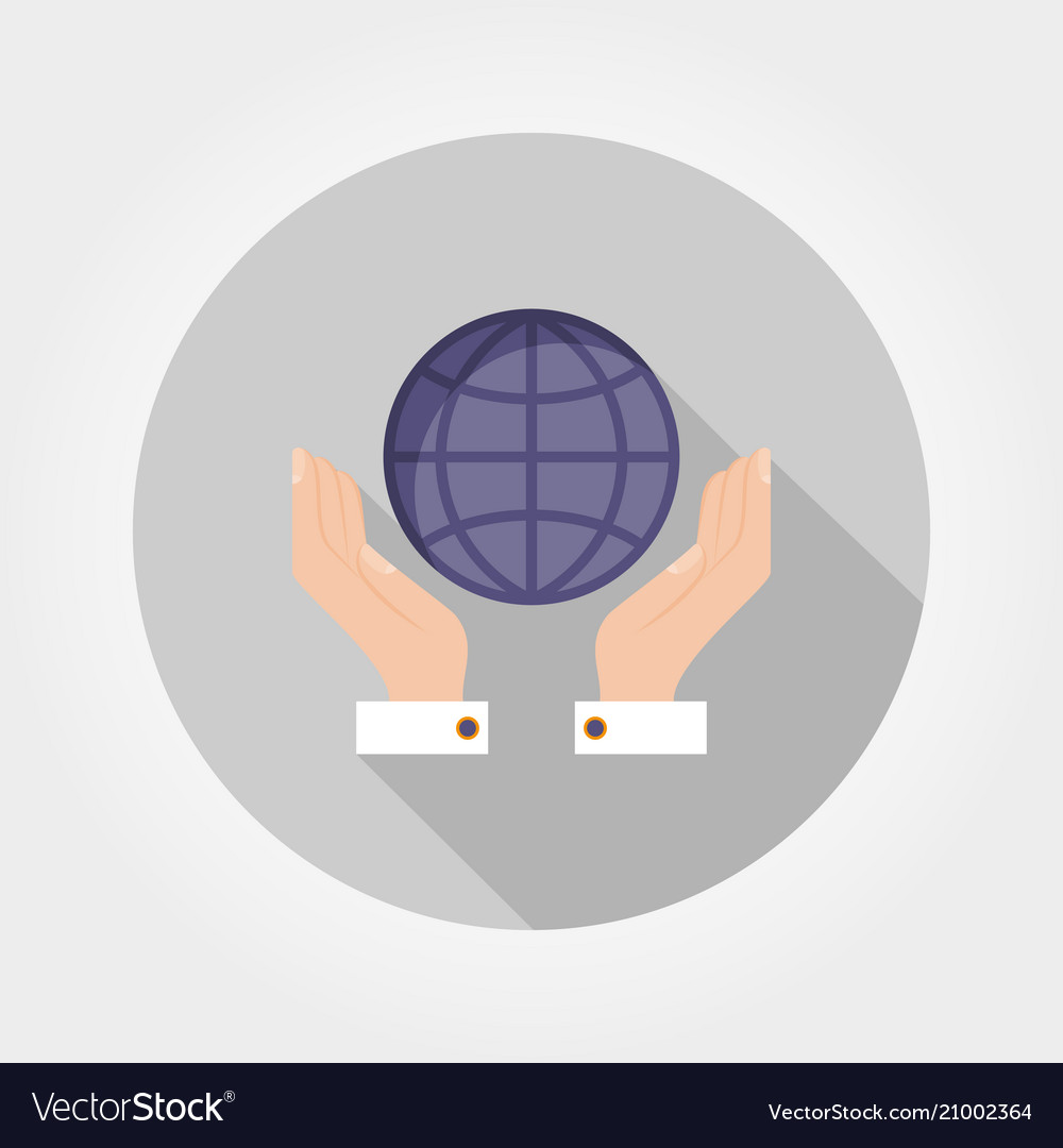 Globe in the hands icon flat