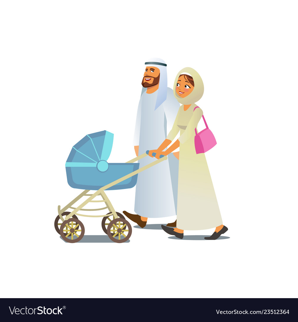 Muslim family walking with baby carriage