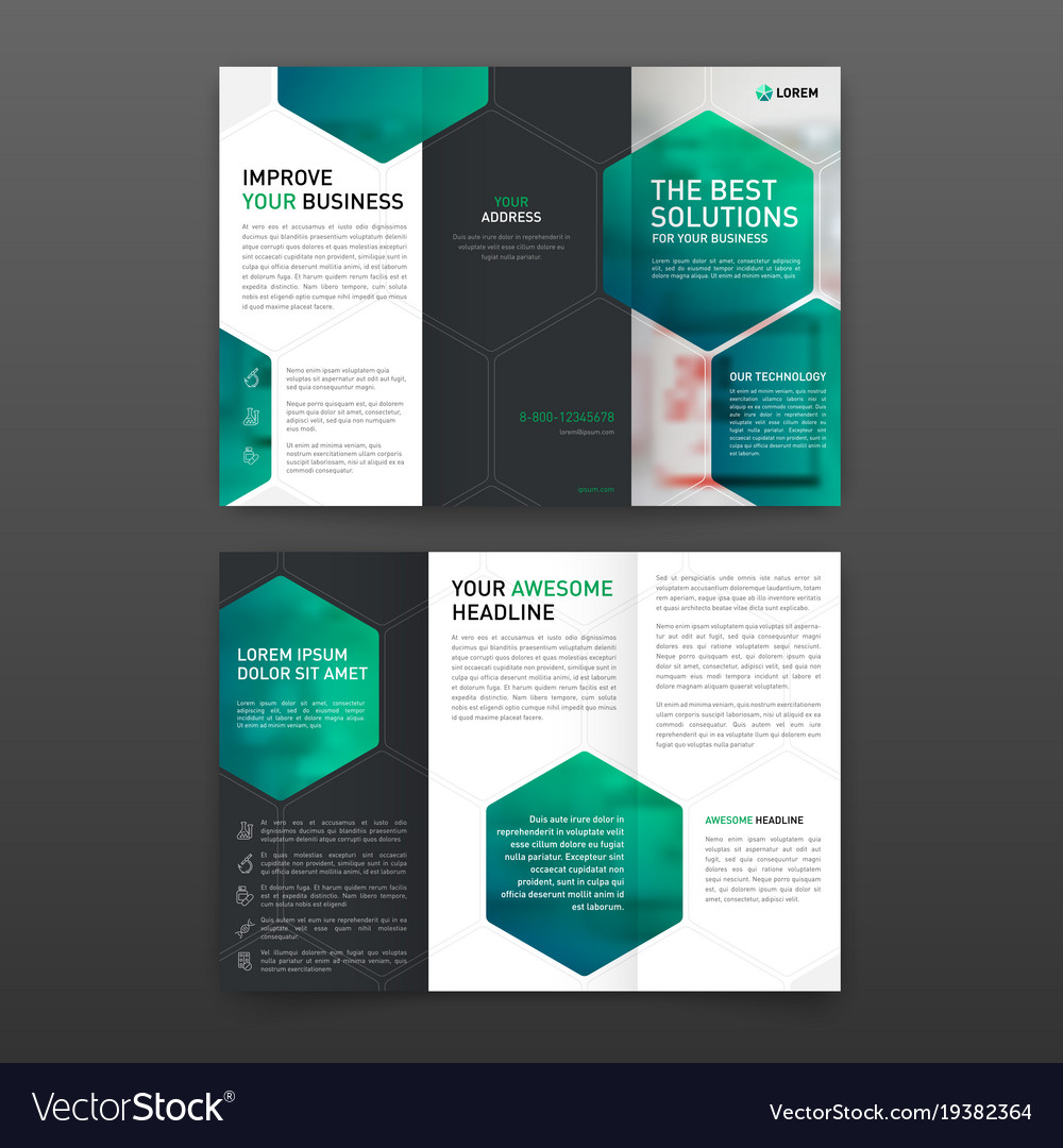 pharmaceutical brochure tri fold template layout vector image