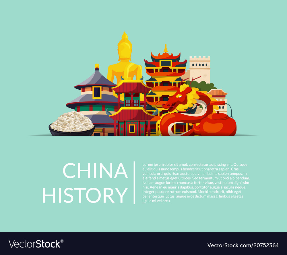 Pile of flat style china elements and vector image