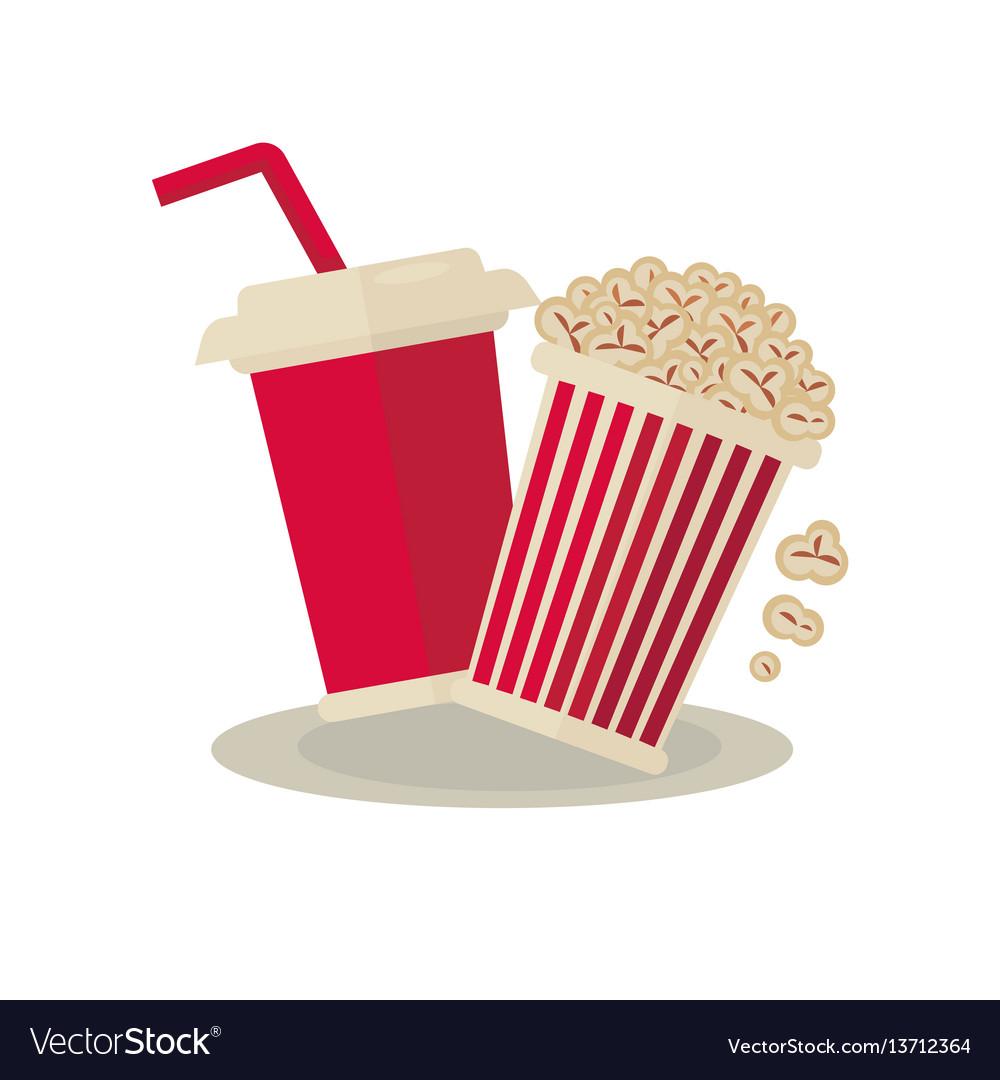 Popcorn carton bowl and soda takeaway on white