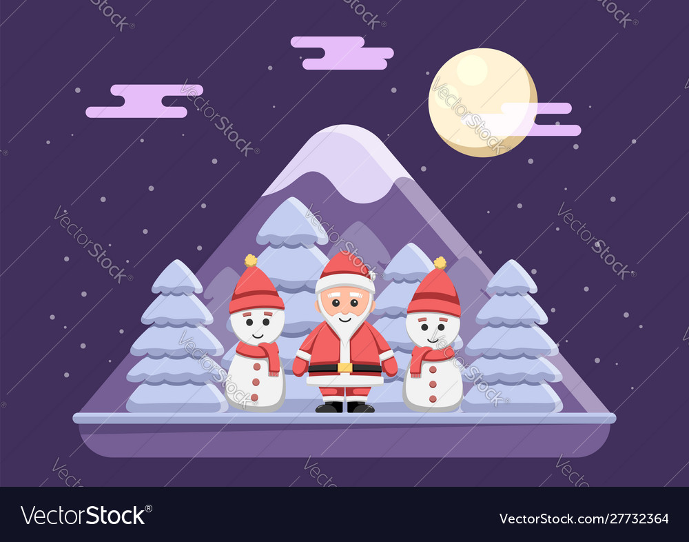 Santa claus with snowman standing on snowy night
