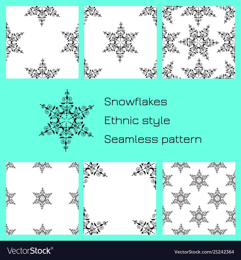 Set snowflakes ethnic style white background