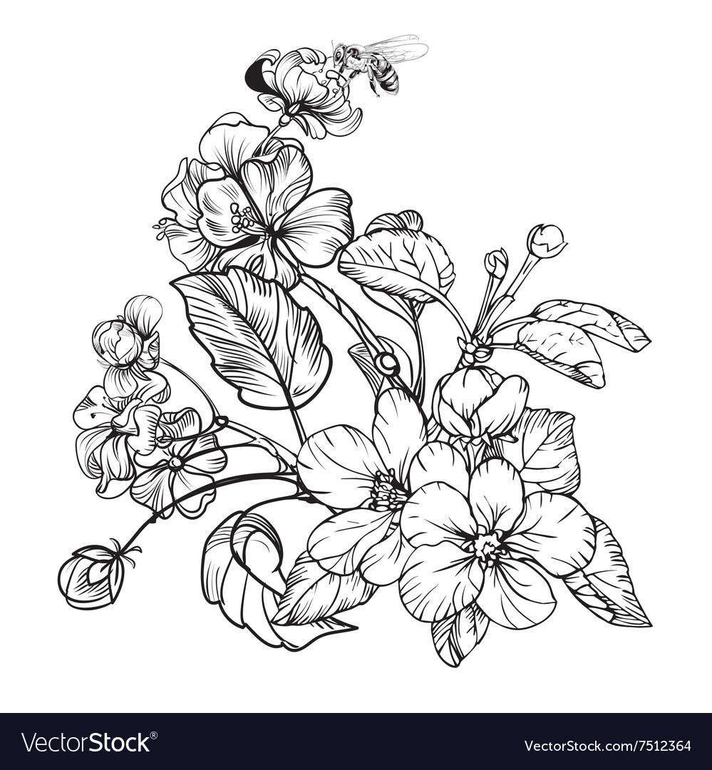 Vintage Elegant Flowers Black And White Royalty Free Vector