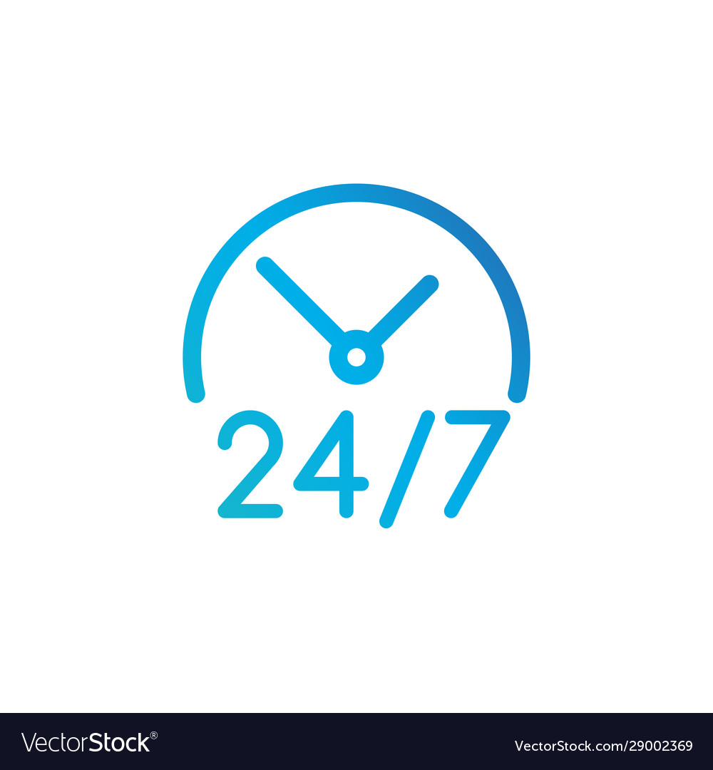24 hours 7 days icon time clock icon isolated