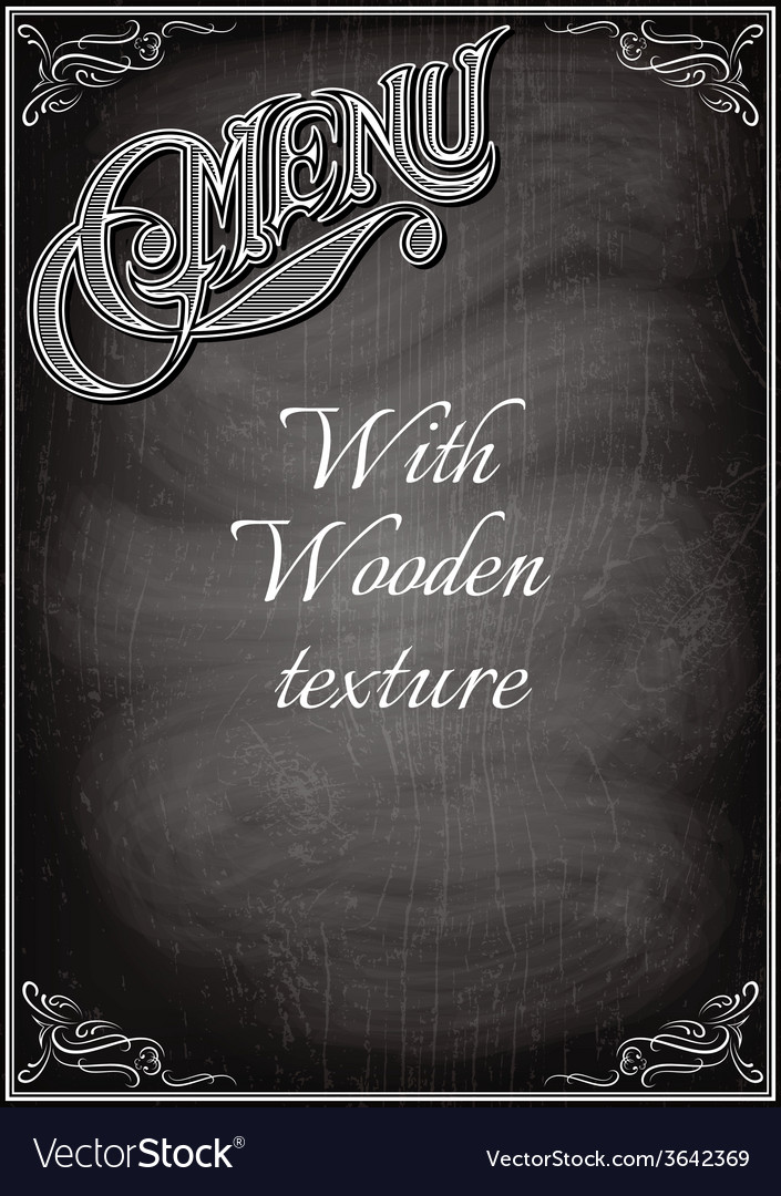 Black chalkboard with a with wood texture
