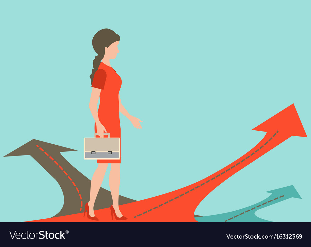 Business woman standing on the arrow