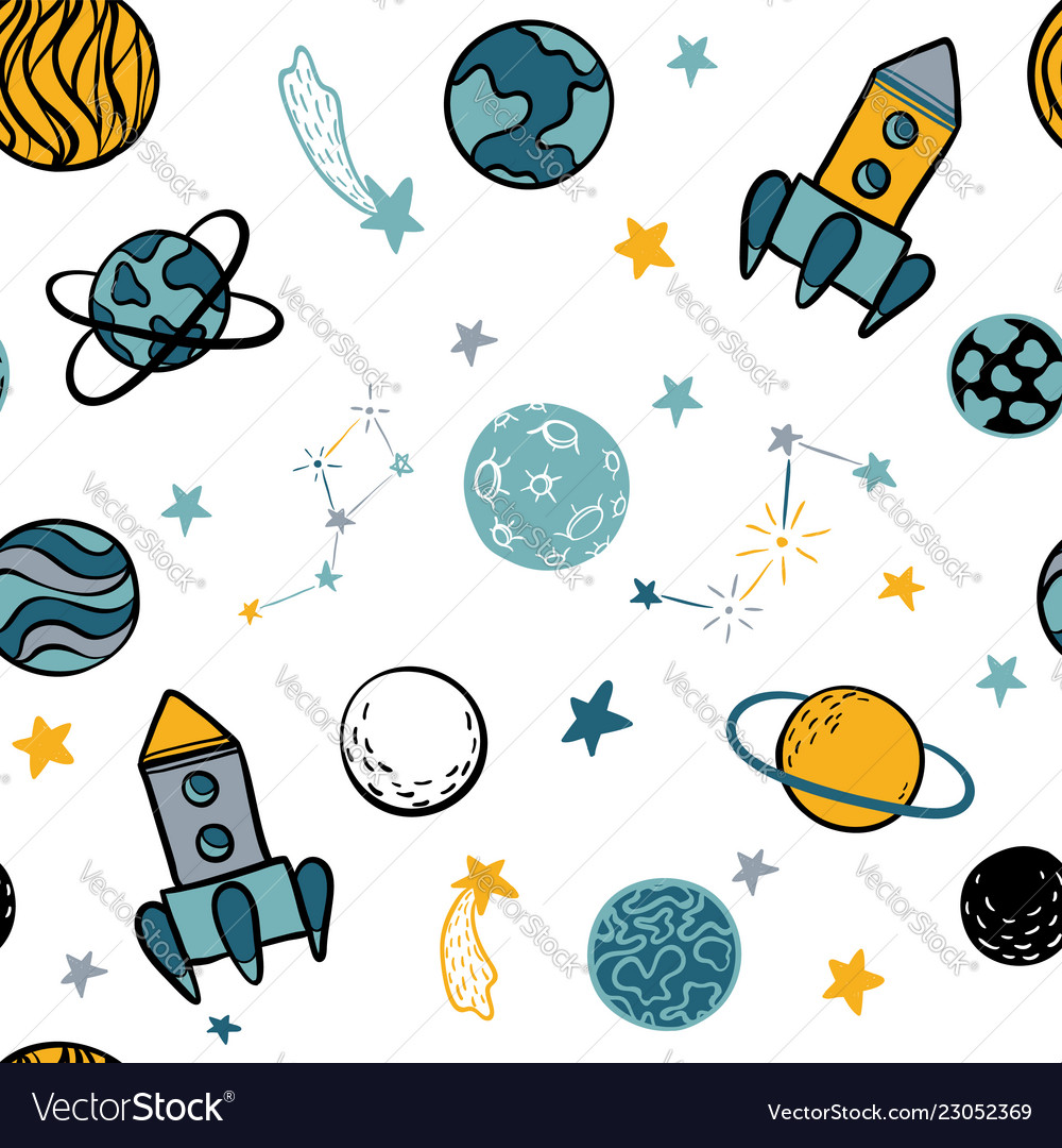Childish seamless pattern hand drawn space