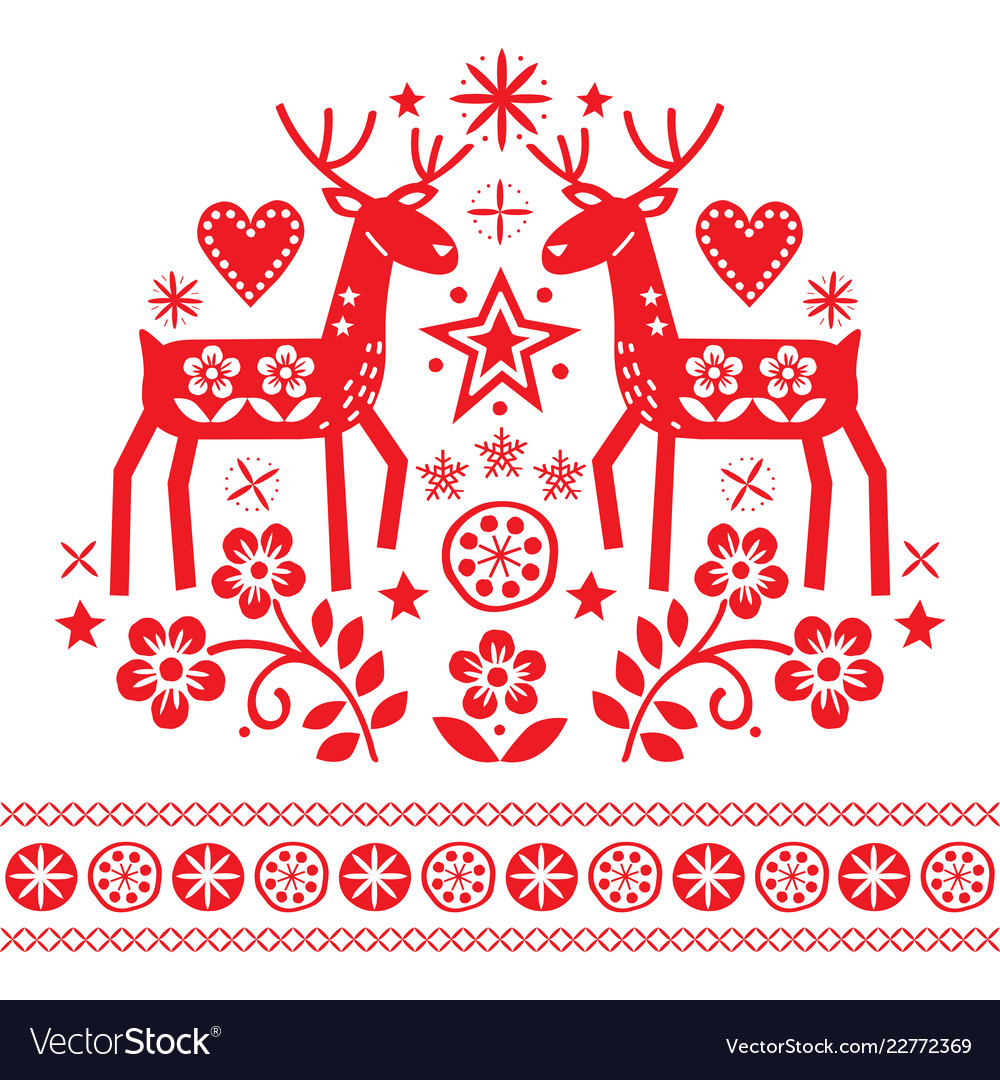 Christmas design with reindeer flowers