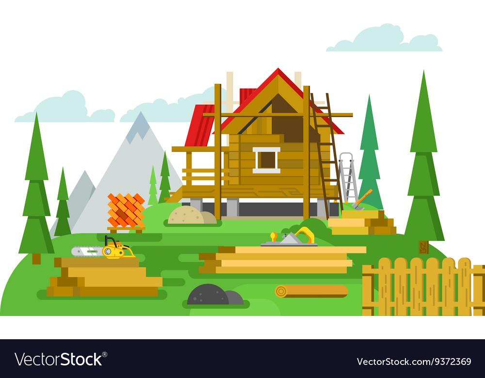 Cottage construction flat design