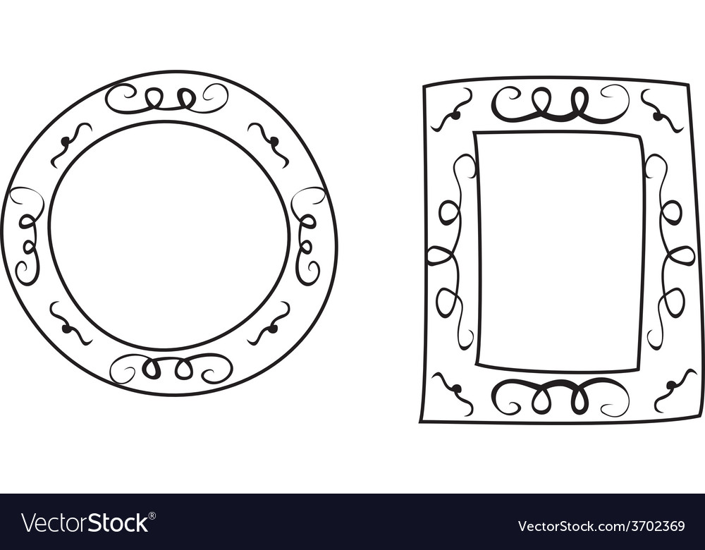Hand drawn frames isolated on white background