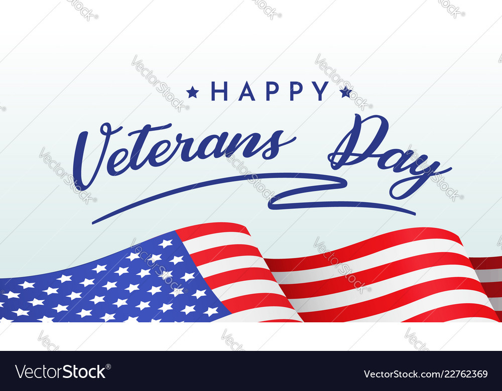 Happy veterans day banner with congratulations