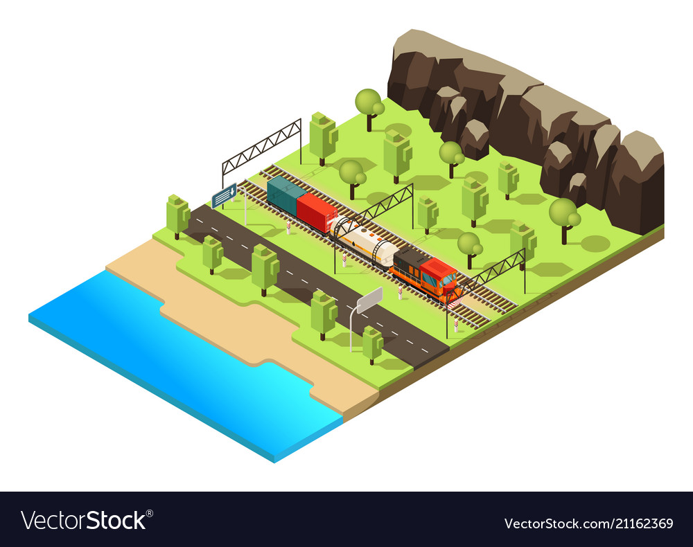 Isometric railroad transportation concept on engine shed floor plans, railroad depot floor plans, trailer house floor plans, locomotive house plans, ho locomotive shed floor plans, railroad section house floor plans,