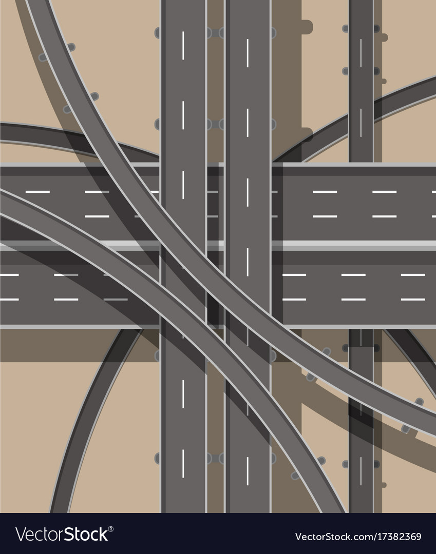 Modern roads and transport top view