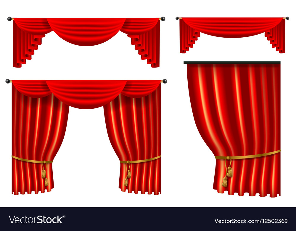Set of 3d red luxury silk curtain realistic