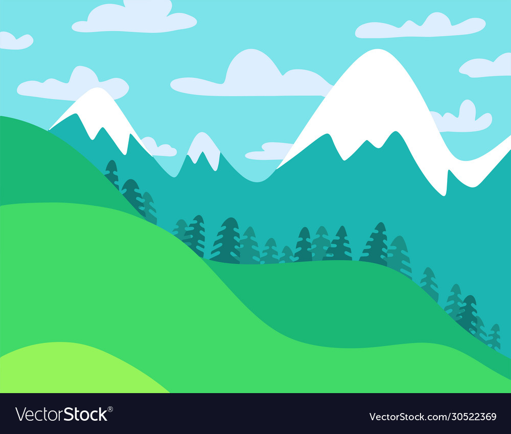 Summer landscape mountain forest with coloudy sky