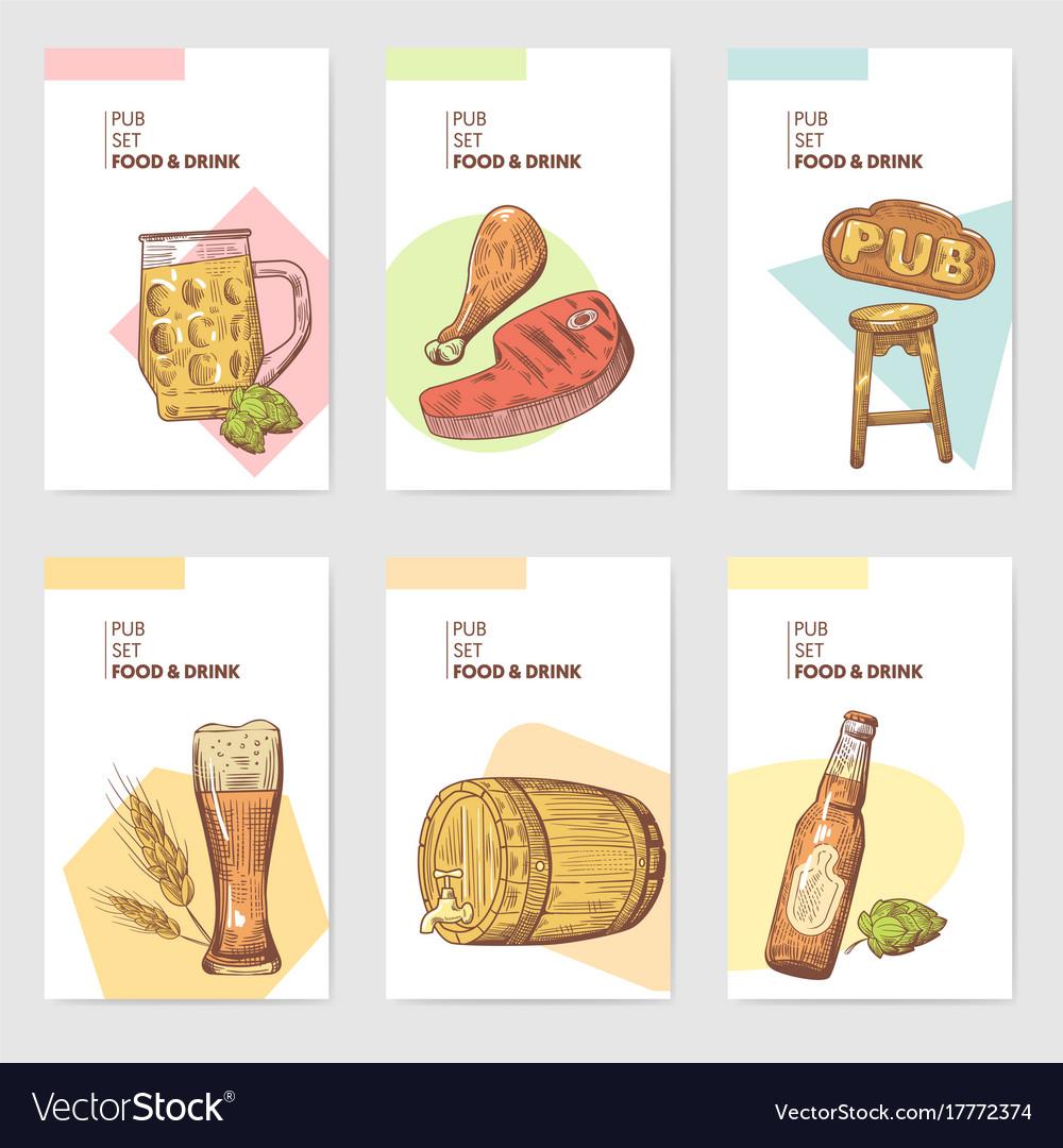 Beer pub brochure template hand drawn menu