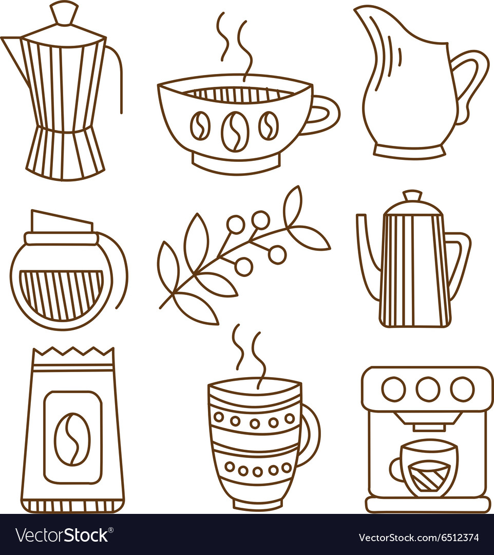 Coffee Elements in Handdrawn Linear Style