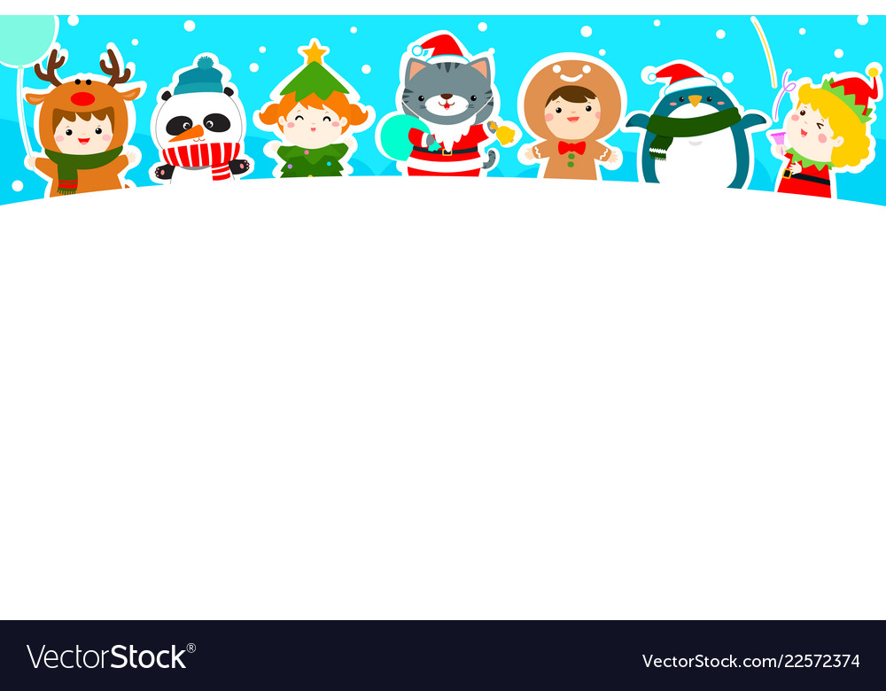 Cute kids and animal in christmas background Vector Image