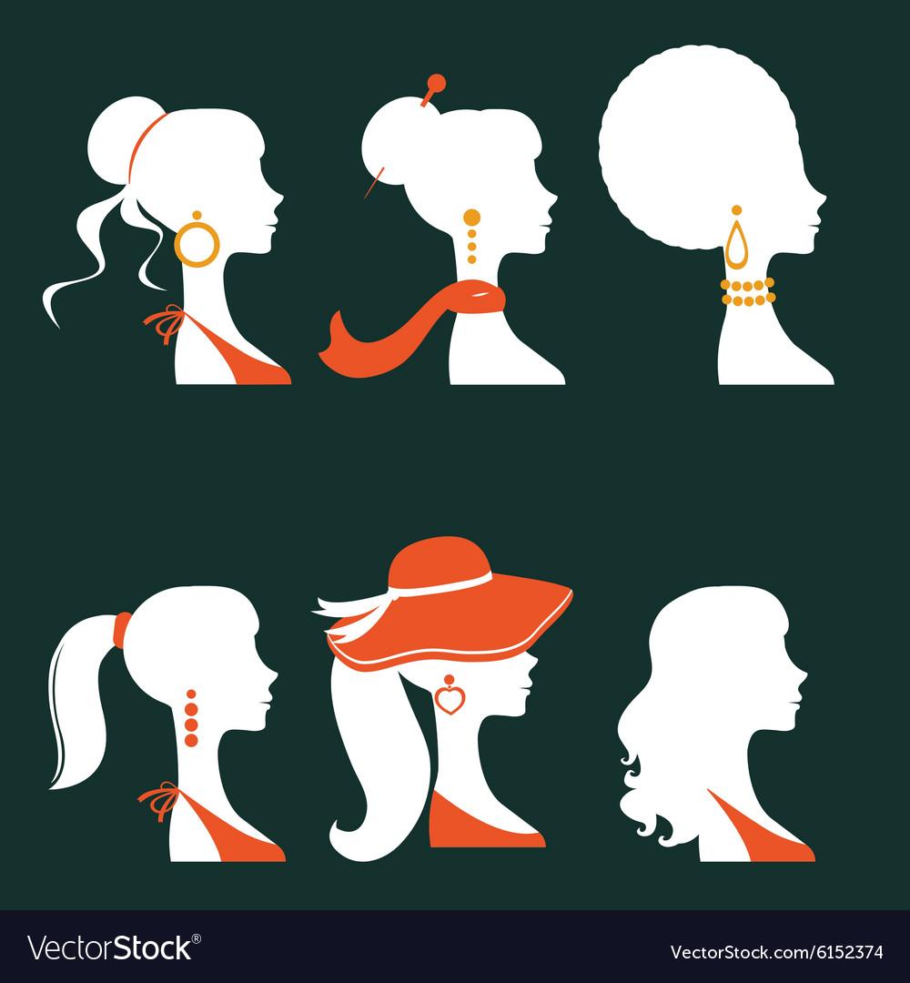 Elegant women silhouettes vector image