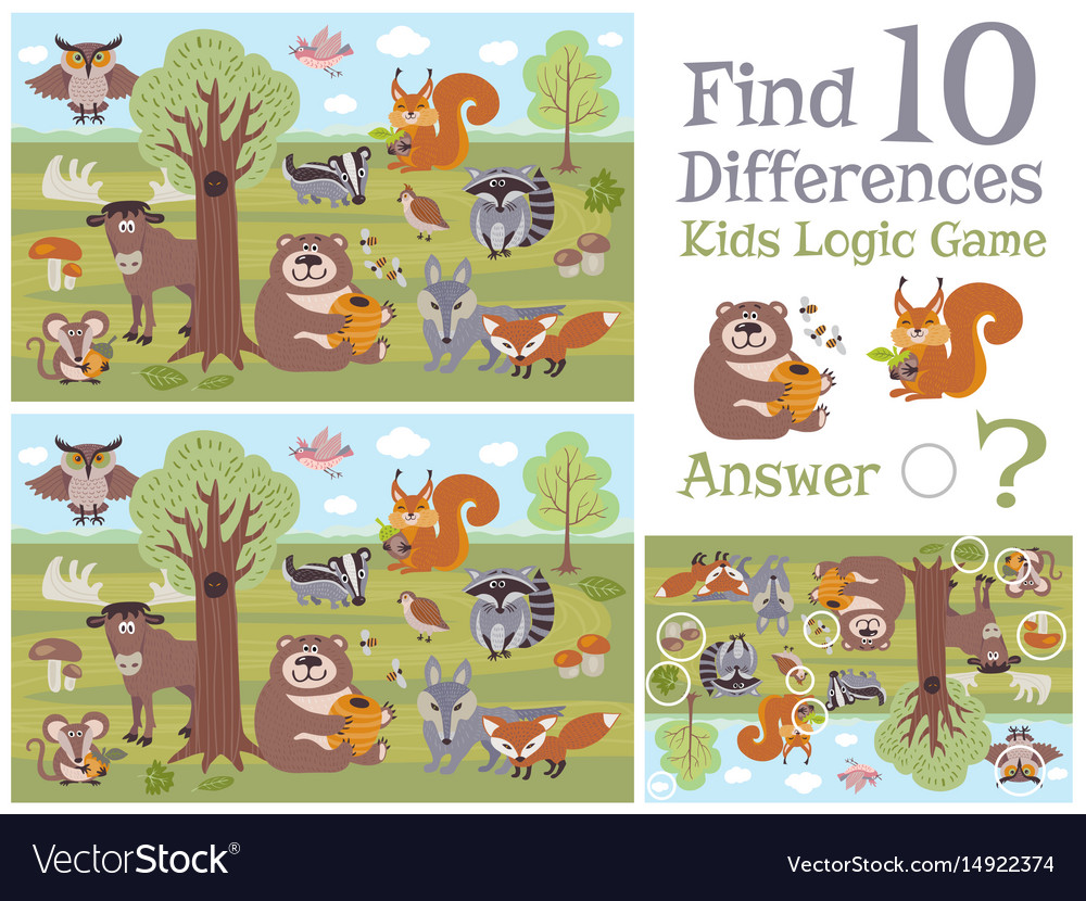 Find differences educational kids game with forest