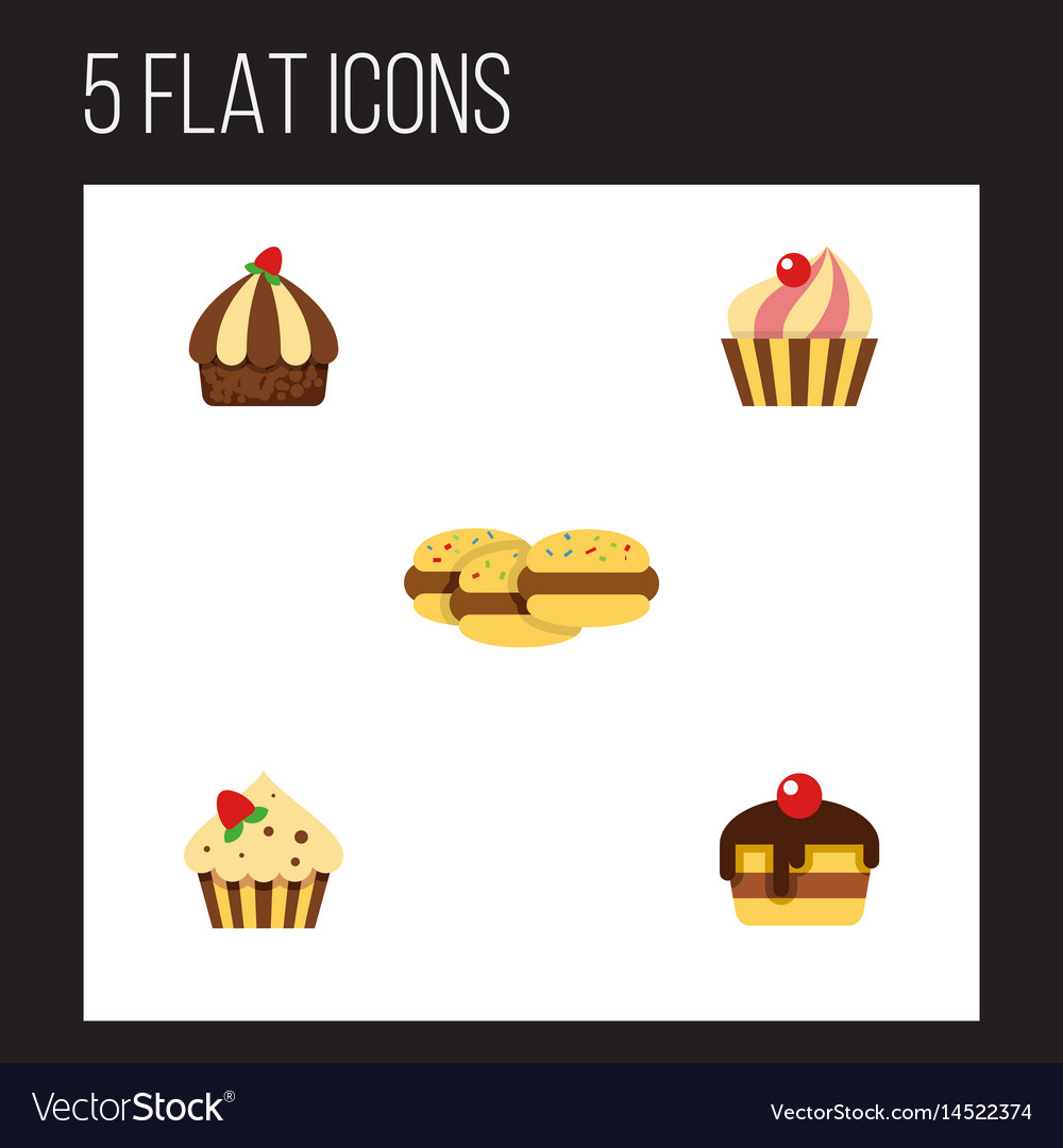 Flat cake set of sweetmeat cupcake confectionery vector image