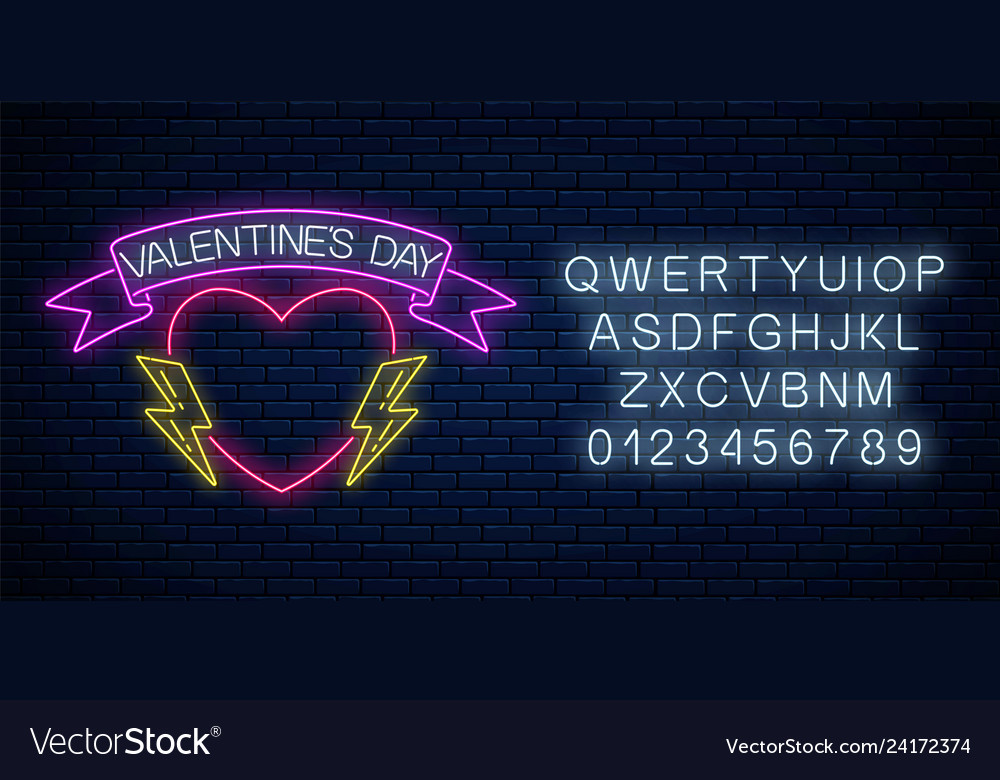 Glowing neon valentines day sign with heart shape