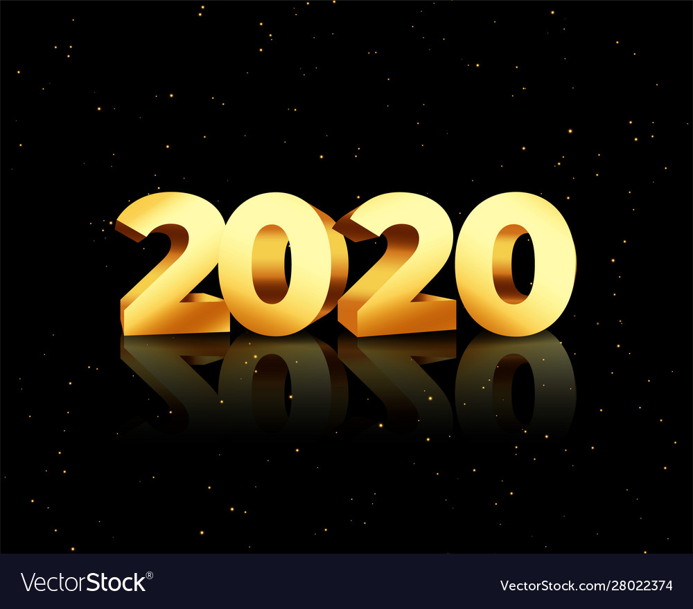 Golden 2020 in 3d style on black background