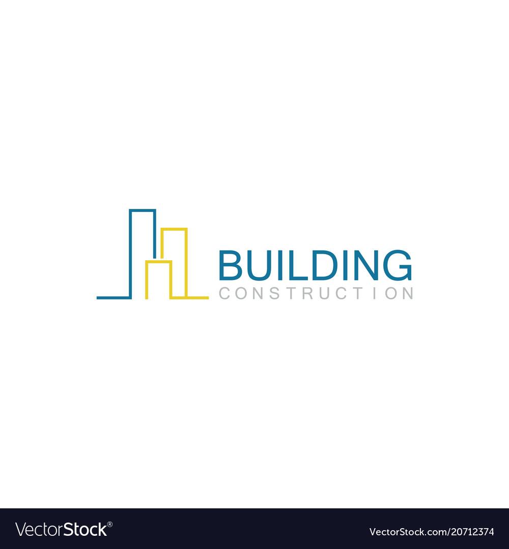 Line building construction logo