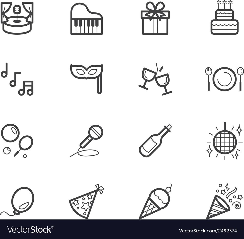 Party element black icon set on white background