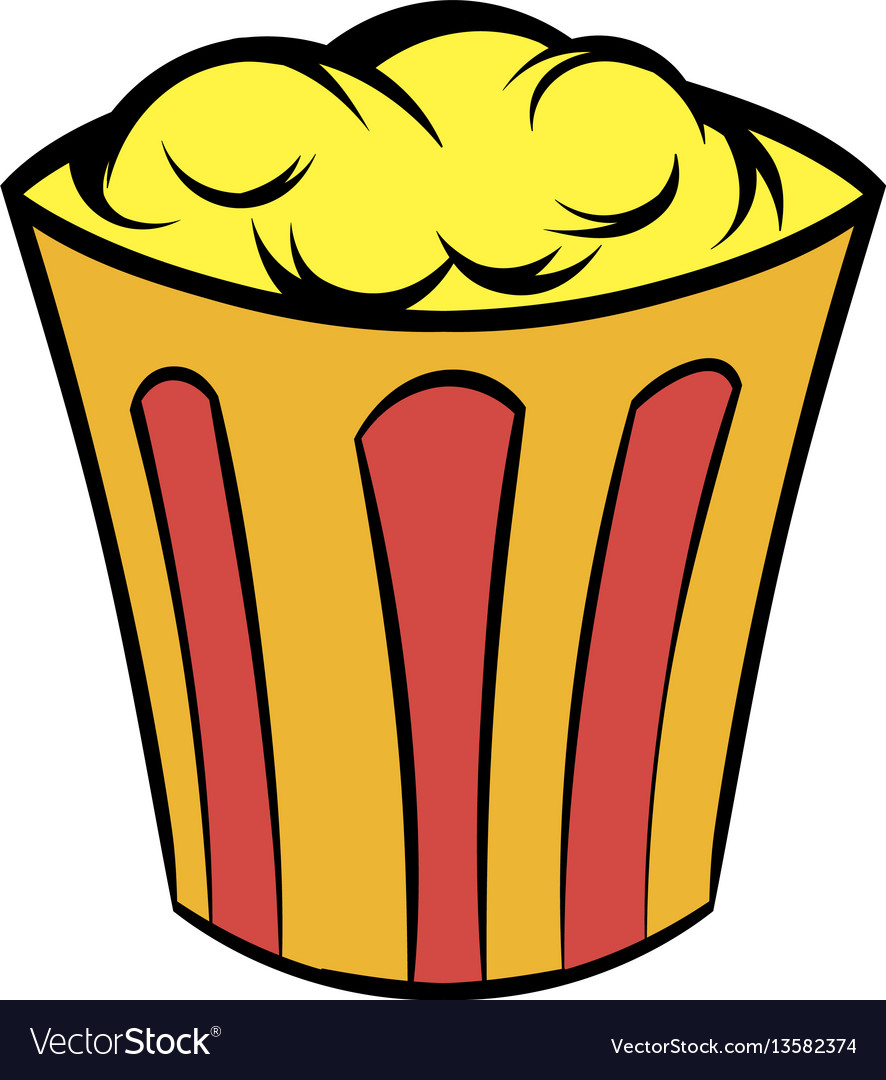 Popcorn in striped bucket icon cartoon