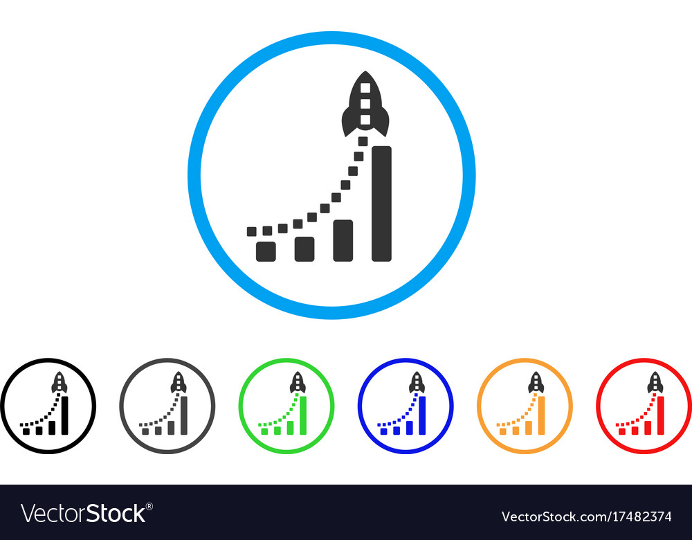 Rocket business bar chart rounded icon