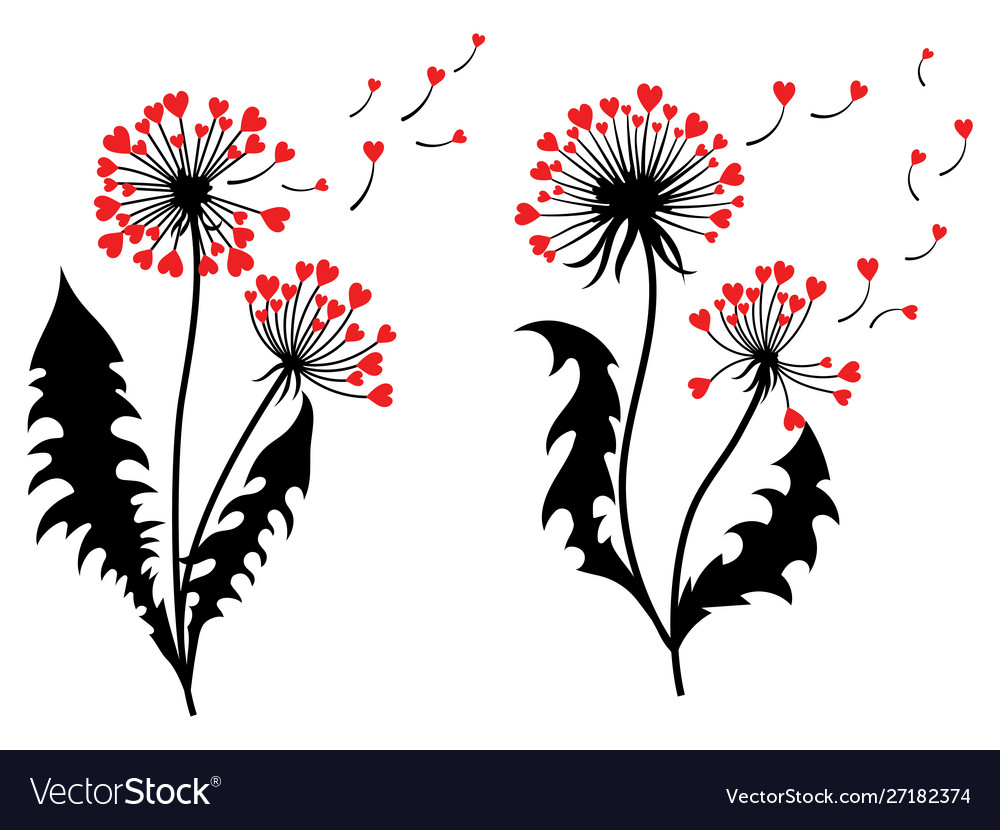 Set dandelions with hearts collection of
