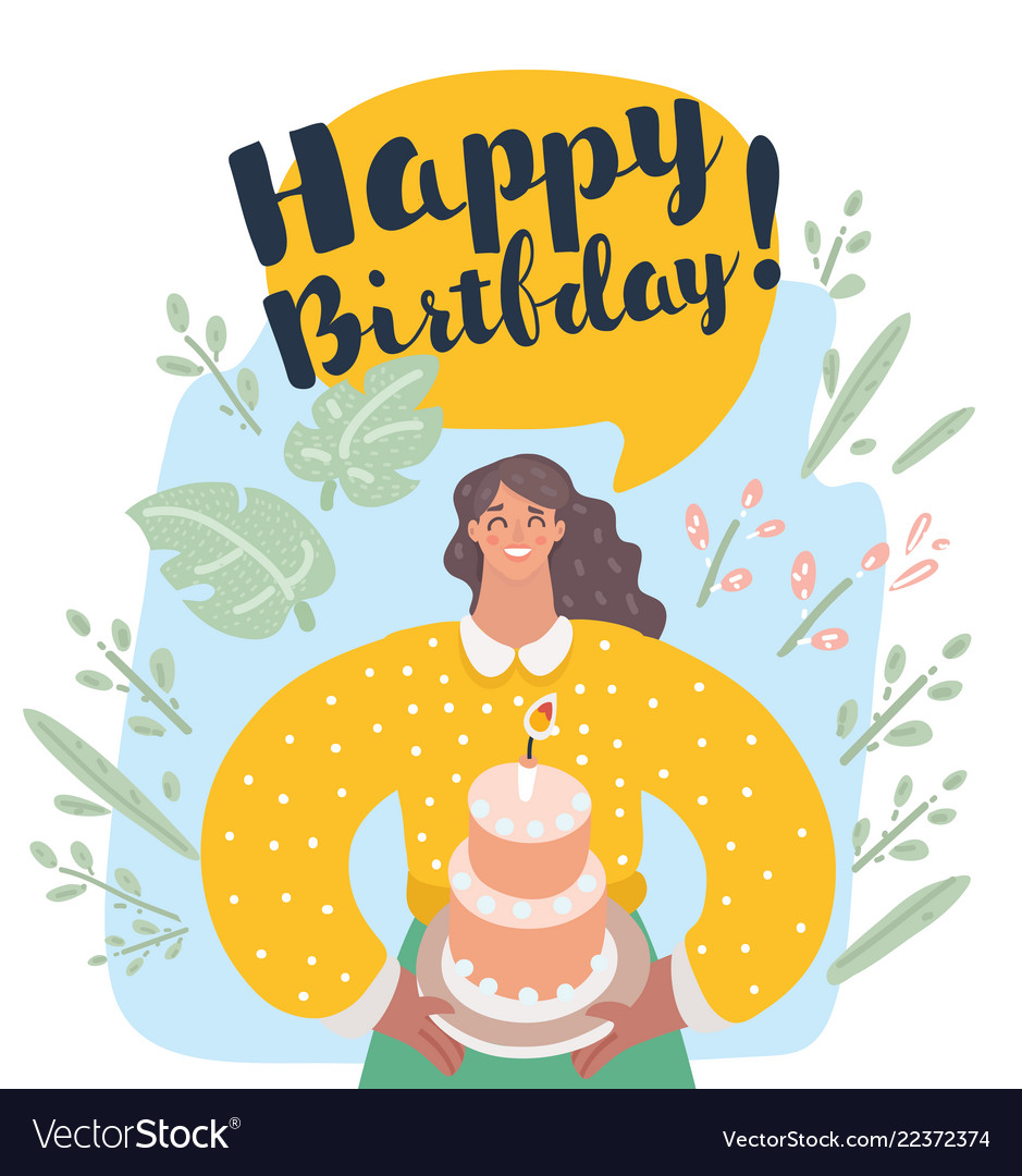 Smiling woman holding cake with lit candle