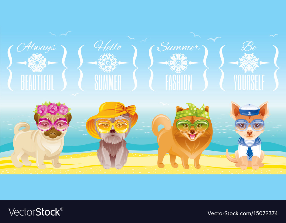 Summer fashion puppy dog icon set in sweet retro