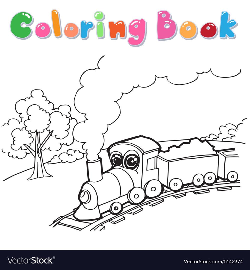 Train Cartoon Coloring Book Vector Image