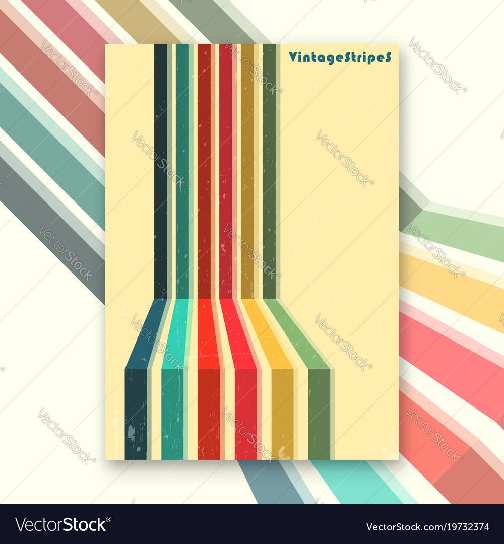 Vintage stripes interior poster vector image