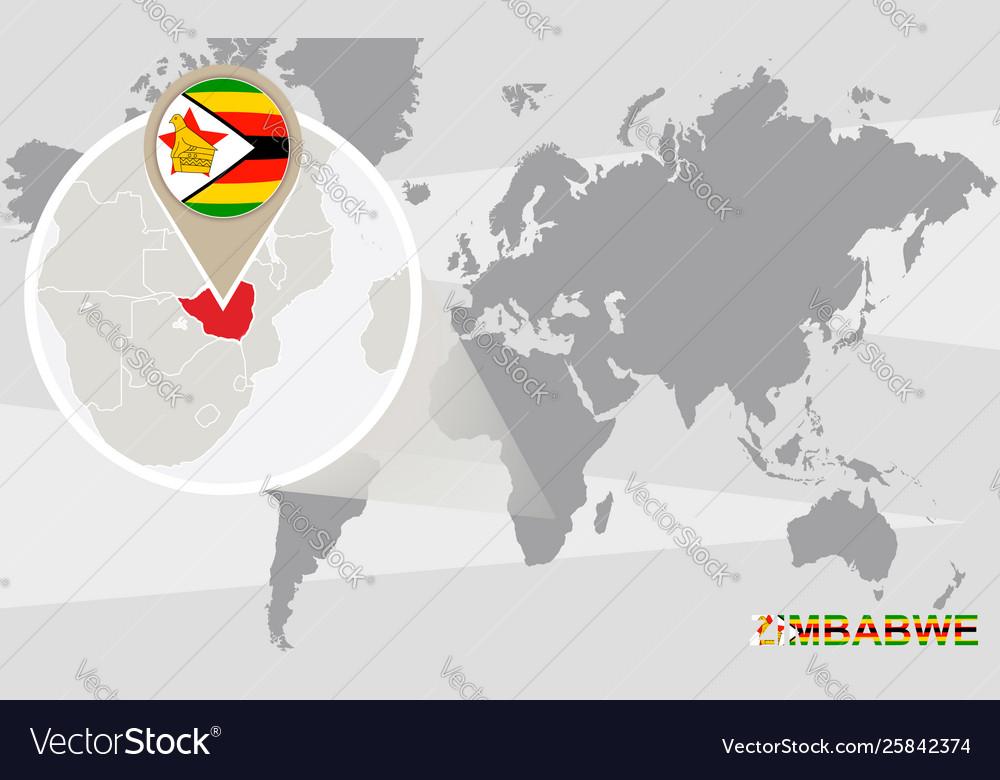 World map with magnified zimbabwe on map china, map ethiopia, map gabon, map namibia, map south africa, map chad, map lebanon, map egypt, map mozambique, map sudan, map rwanda, map india, map saudi arabia, map iraq, map italy, map syria, map australia,