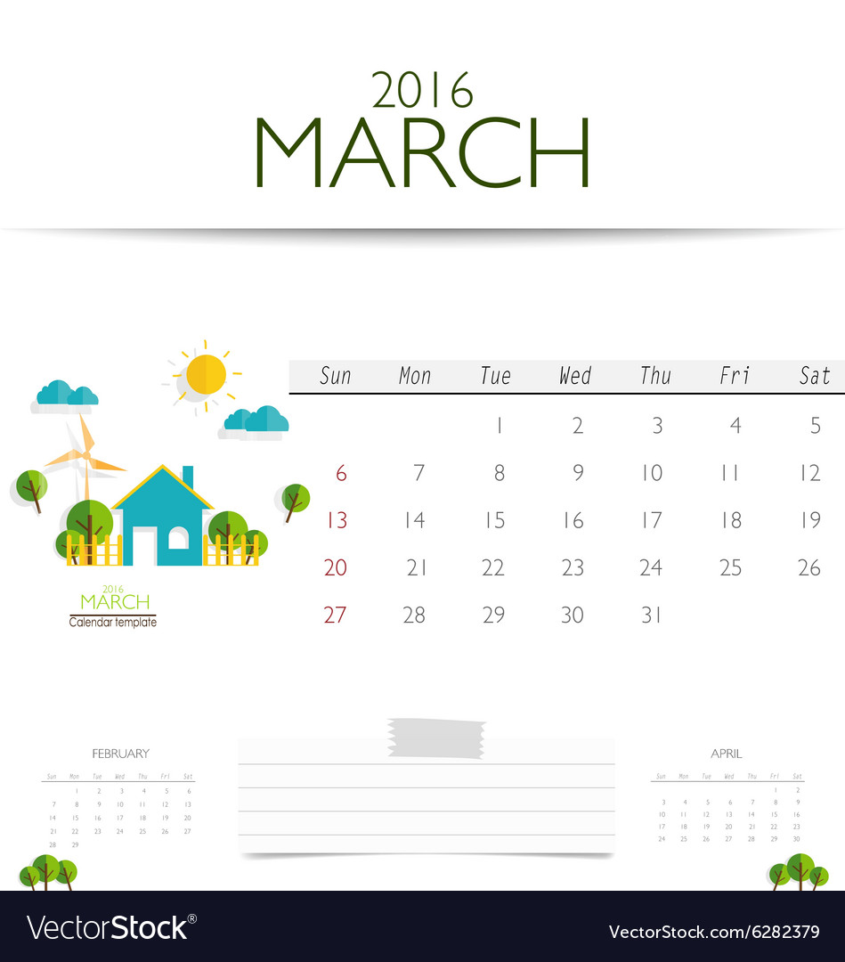 2016 calendar monthly calendar template for march vector image