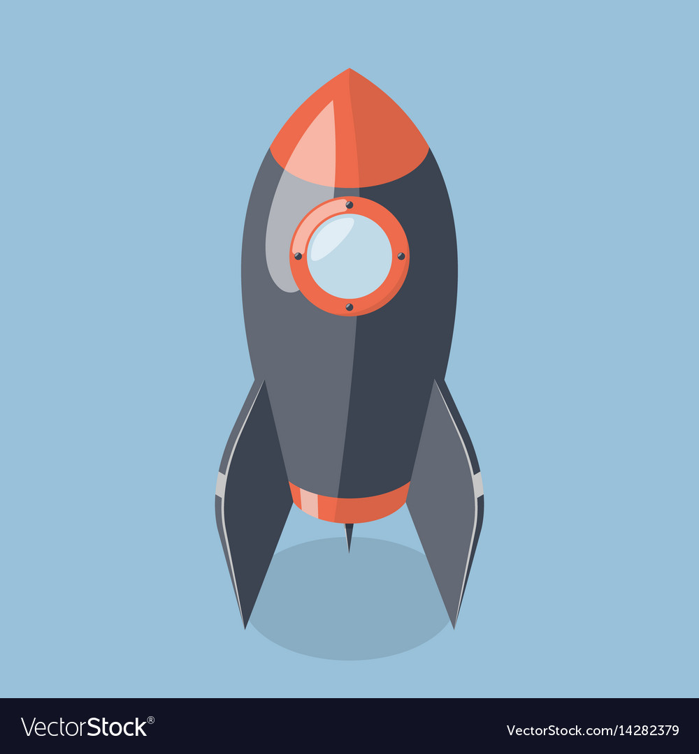 3d rocket spaceship isolated on blue background
