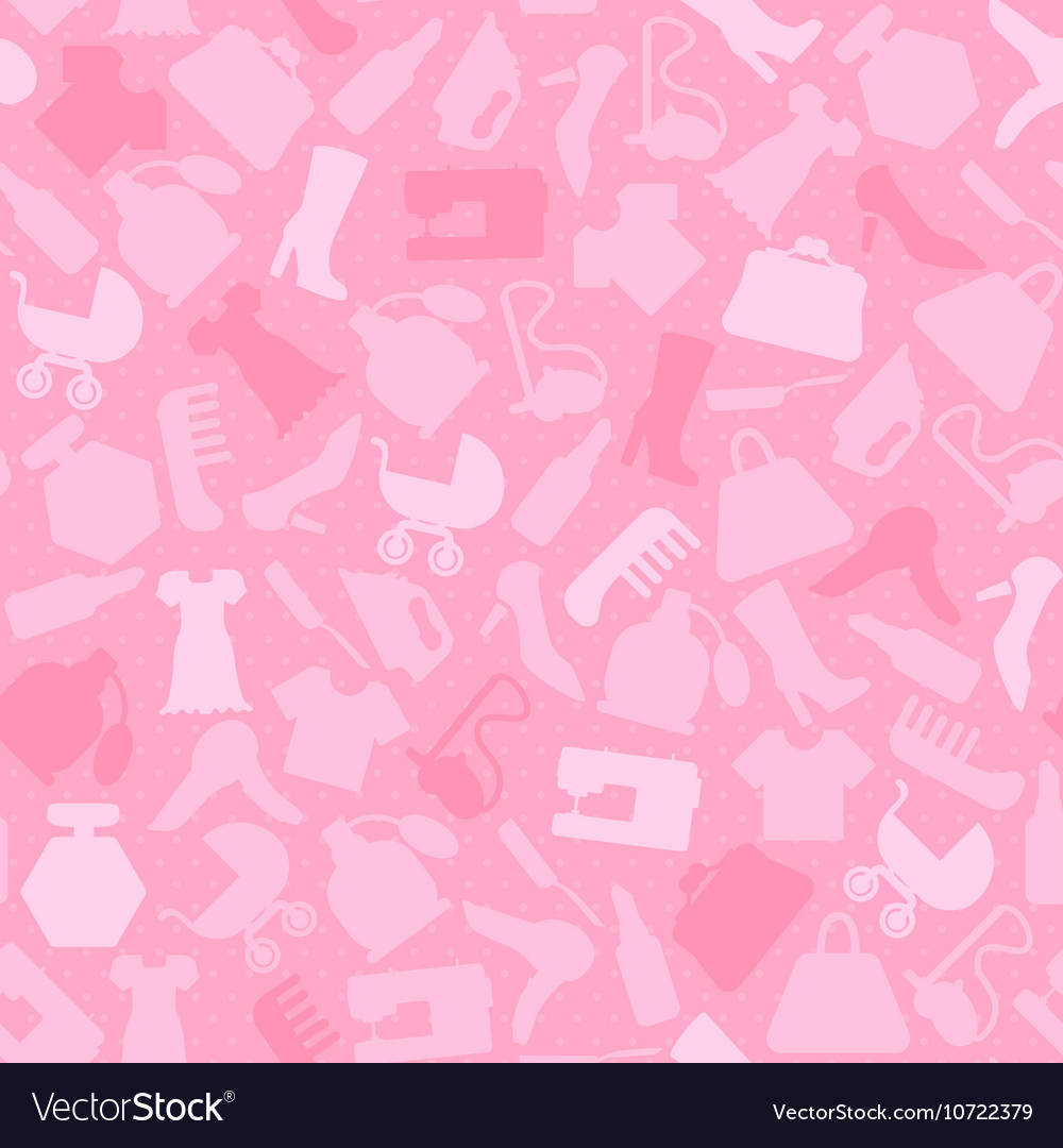 Background for woman shopping items on seamless